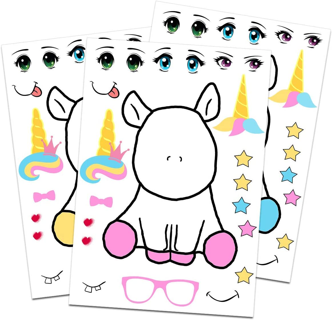 MISS FANTASY Make a Unicorn Stickers Unicorn Party Supplies and Favors for Girls Birthday Party Games and Activities for Kids Set of 24 Multi