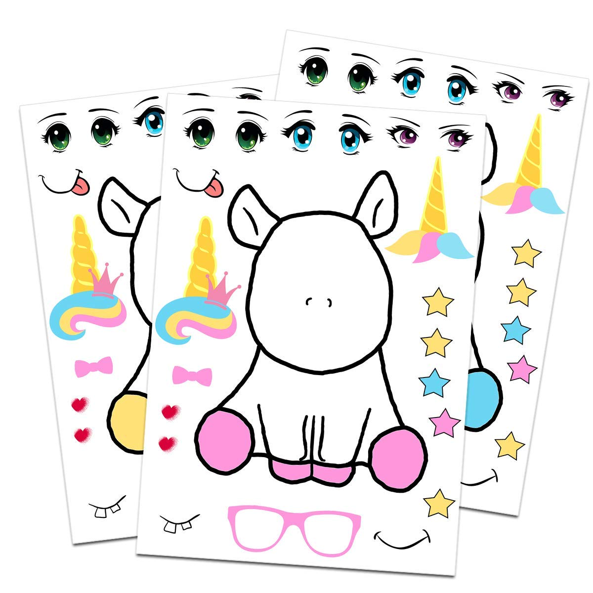 24 Make A Unicorn Stickers For Kids Rainbow Unicorn Theme Birthday Party Favors Let Your Girls or Boys Get Creative Design Their Favorite Unicorn Stickers Fun Craft Project For Children 3