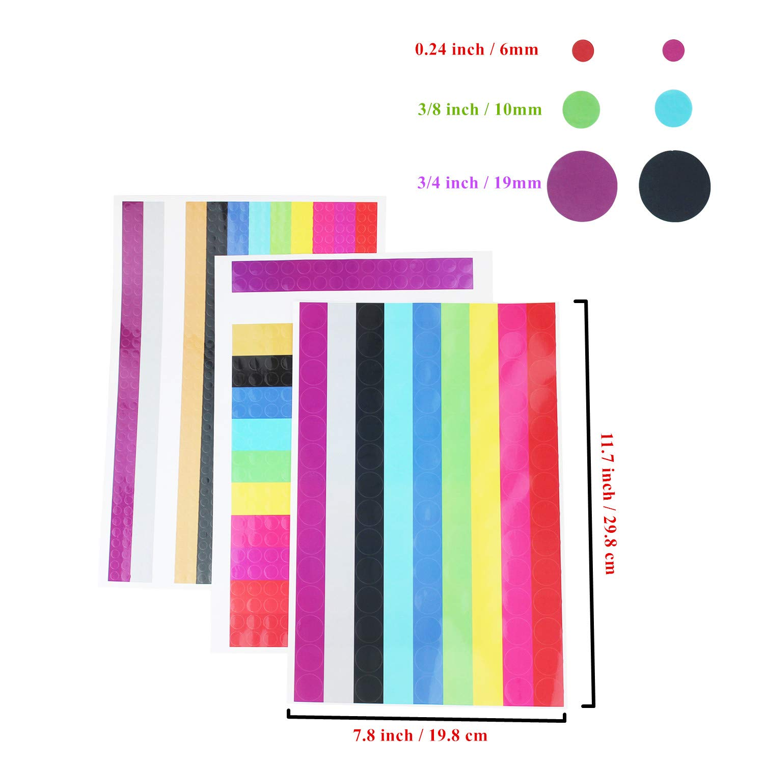 6mm LJY Round Dot Stickers Color Coding Labels 9360 Dots in Total Assorted Colors 10mm /& 19mm Mixed Sizes 24 Sheets