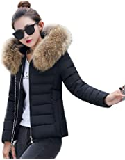 ZEVONDA Women Down Jackets Coats - Winter Warmer Windproof Thicken Puffer Quilted Padded Parka Slim Fit Short Hooded Full Zip Overcoat Outerwear