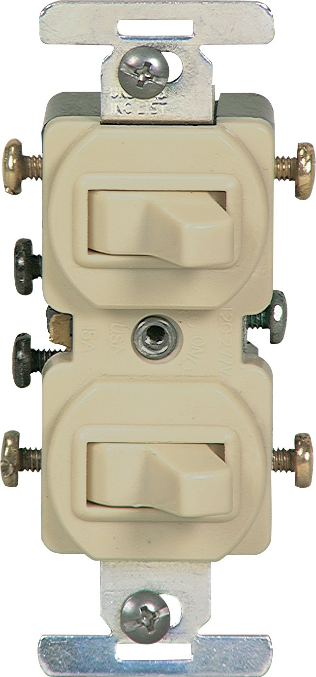 Eaton 276V 15 Amp Commercial Grade Toggle Duplex Switch, Ivory