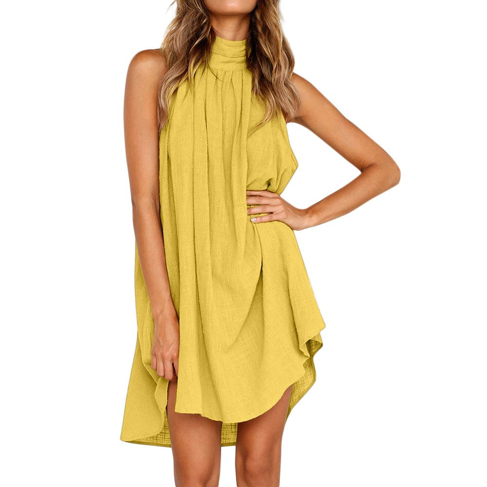 BingYELH Women Boho Solid Sleeveless Mini Dress Beach Dress Irregular Wedding Party Dress Backless Holiday Sundress Yellow