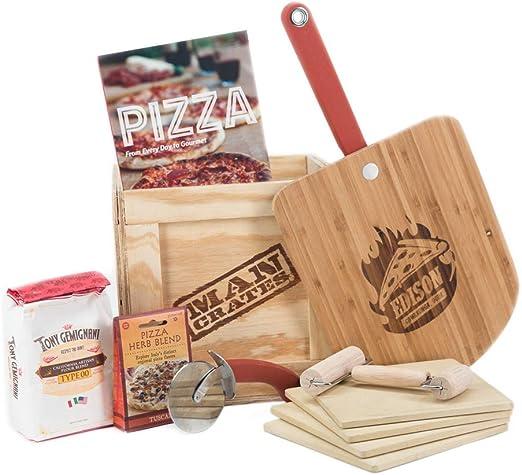 Cajas de pizza para hombre – Sabroso regalo de comida para hombres – pizza piedras, pizza pelar, especias,