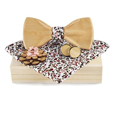 c043827001f67 Amazon.com: Wooden Bow Ties for Men Flower Lapel Pins Polyester Handkerchiefs  Cufflinks Set: Clothing