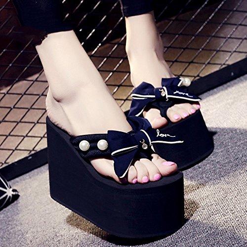 LIXIONG Portátil Los deslizadores de tacón alto del verano femenino del 12cm (azul / negro / gris / color de rosa) -Zapatos de moda ( Color : Azul , Tamaño : EU38/UK5.5/CN38 ) Azul