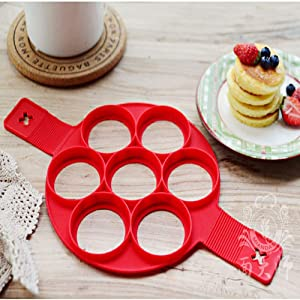 Silicone Pancake Molds,Flip Cooker - Non Stick Egg Pancake Maker Ring,Silicone Egg Ring Maker Pancake Mold Maker (Red)