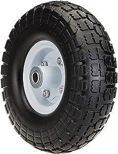 "SLT 4.10/3.50-4"" Flat Free Wheelbarrow Tire on Wheel, 2"" Offset Hub, 5/8"" Ball Bearings, Durable Replacement Tire Hand Truck/All Purpose Utility Tire on Wheel"