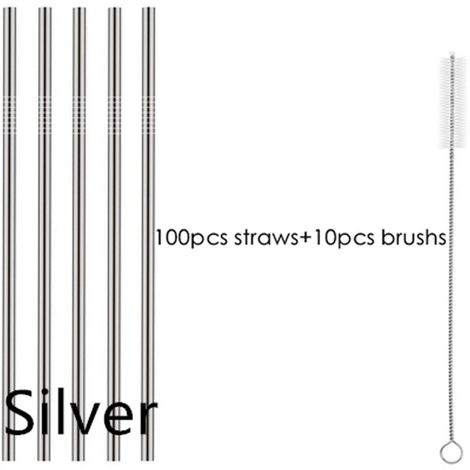 100Pcs Straws + 10Pcs Brushs Straight Or Bent Metal Drinking Straw Stainless Steel Reusable Straws for Beer Fruit Juice Drink by Moange