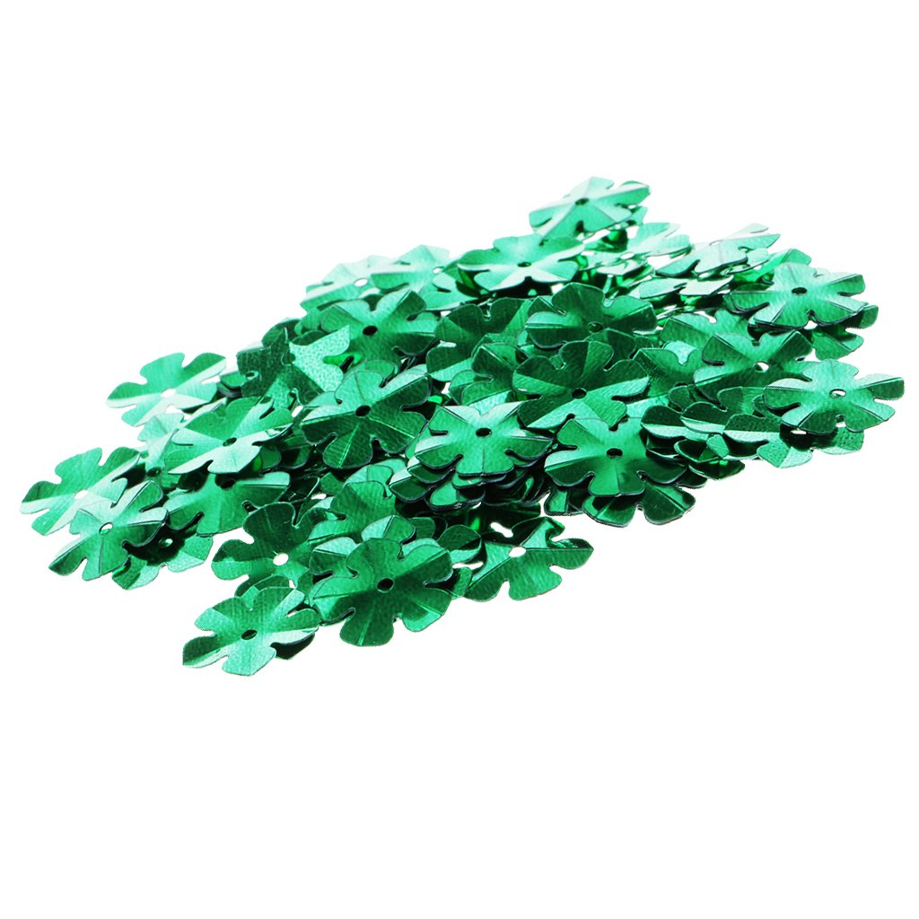 Light Green 9mm Blesiya 100Pcs Shiny Flowers Loose Sequins Paillettes DIY Sewing Costumes Dancewear
