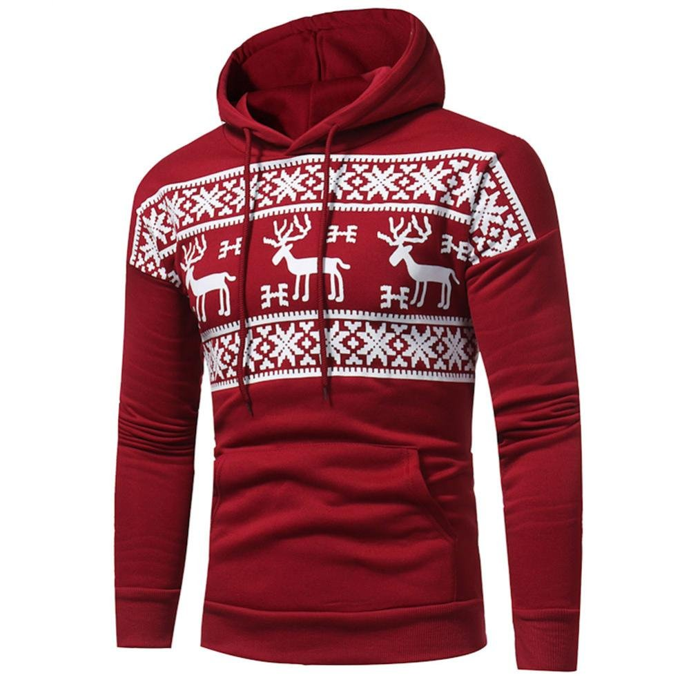 Jimmkey Men Christmas Hoodies Snowflake Hooded Sweatshirt Pullover Top Long Sleeve Hoody Round Neck Jumper Printed Outwear Tops Autumn Winter Hooded Warm Blouse