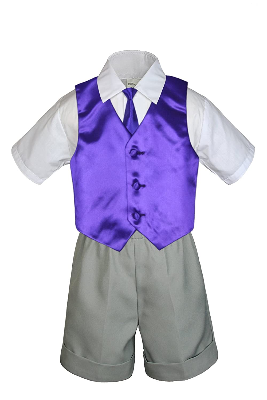 MILLTEX 4 Pieces Set Formal Party Wedding Color Satin Vest /& Necktie Shirt Gray Shorts Set New Born Baby Boy Toddler Sm-4T