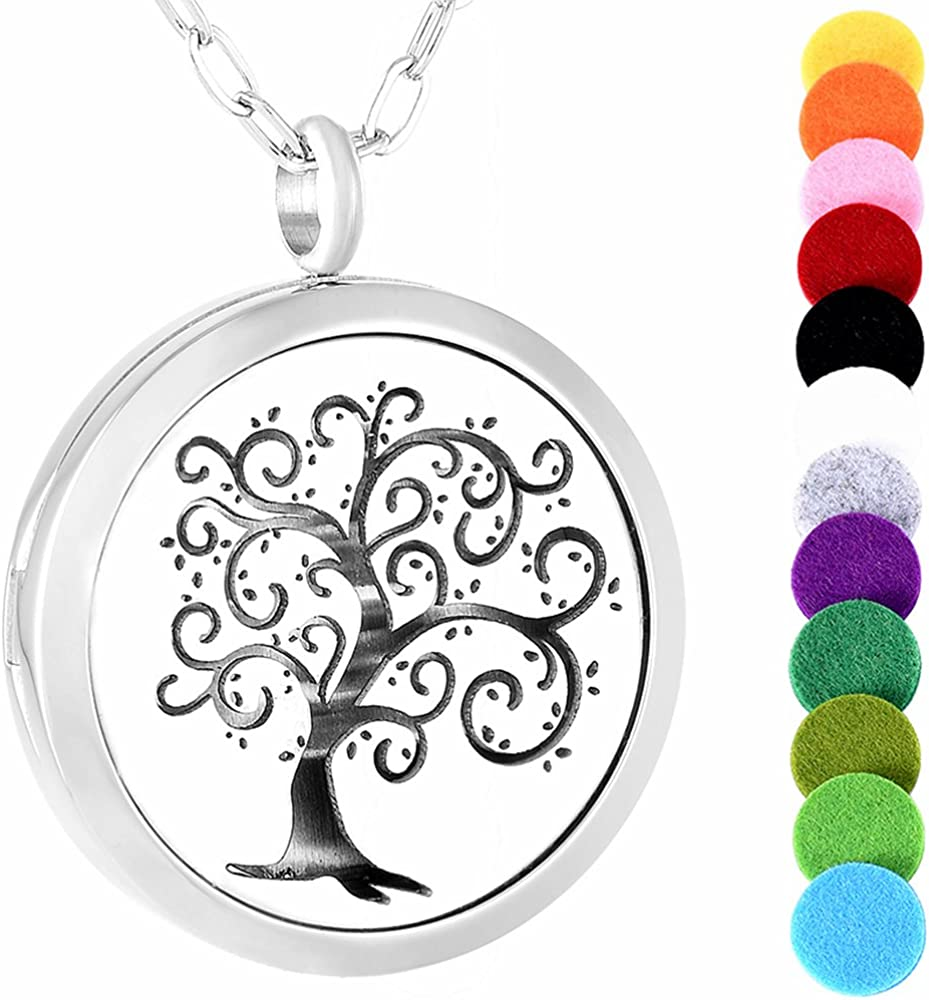 memorial jewelry Silver Heart of Mom 30Mm Aromatherapy/Essential Oils Stainless Steel Perfume Diffuser Locket Necklace