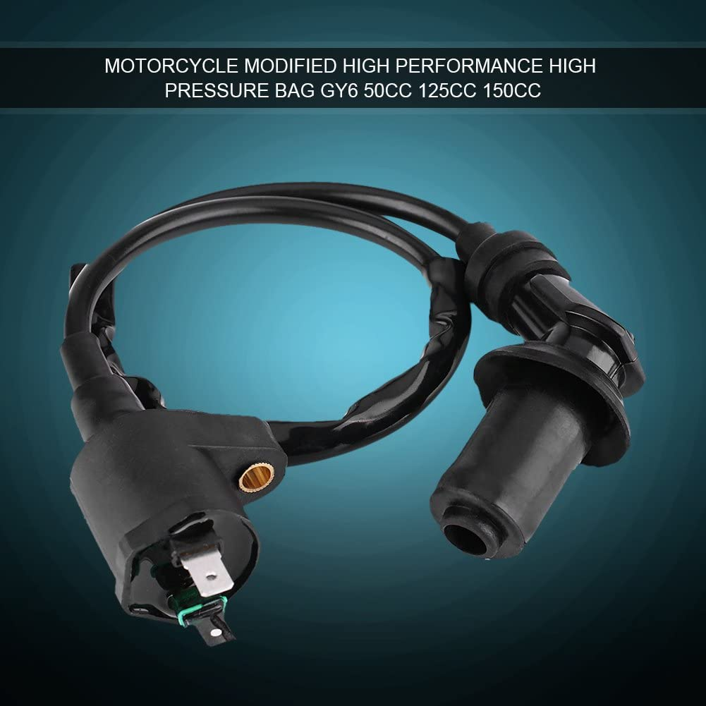 Motorcycle Ignition Coil Ignition Coil for GY6 50CC 125CC 150CC Engine Motorcycle Dirt Bike Scooter Moped Black