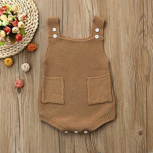 Omiky® Neugeborene Baby-Mädchen-gepaßte Kleinkind-Taschen-Overall-Kleidung-Spielanzug-Ausstattung Beige
