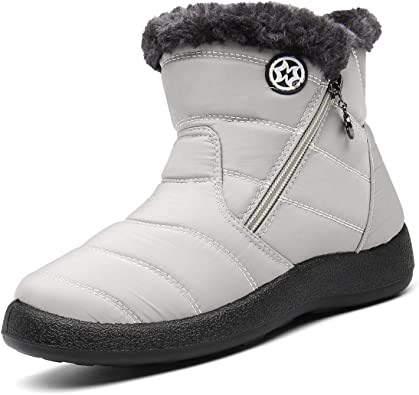 Eagsouni Bottines de Neige Femmes Bottes de Hiver Confortable Zippé Bottes Chaude Doublure en Fourrure Plats en Plein air Boots Poids