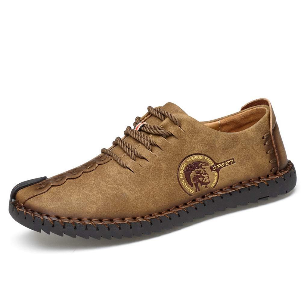 ZHRUI Große Größe Lace up Driving Schuhe Non für Männer weiche Sohle Non Schuhe Slip Breathable Loafers (Farbe : Schwarz, Größe : EU 41) Braun a179a2