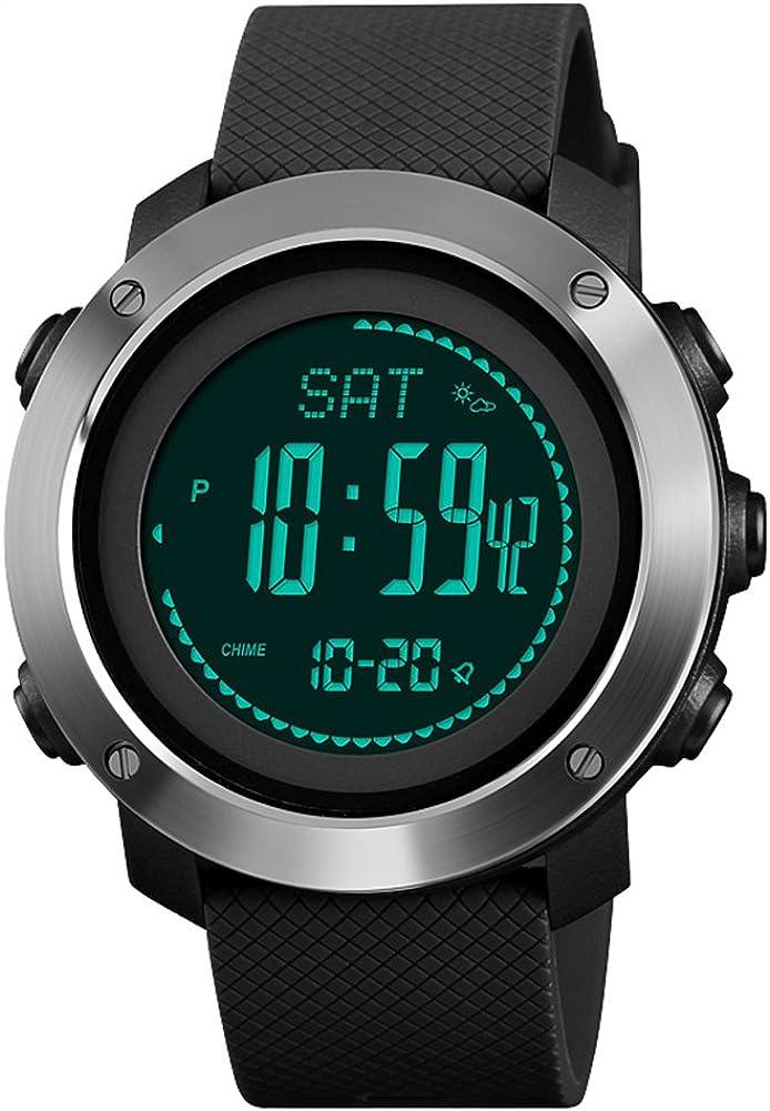 KAUO - Reloj de pulsera multifunción para hombre, impermeable, LED, digital, con brújula, podómetro, cronómetro, color negro