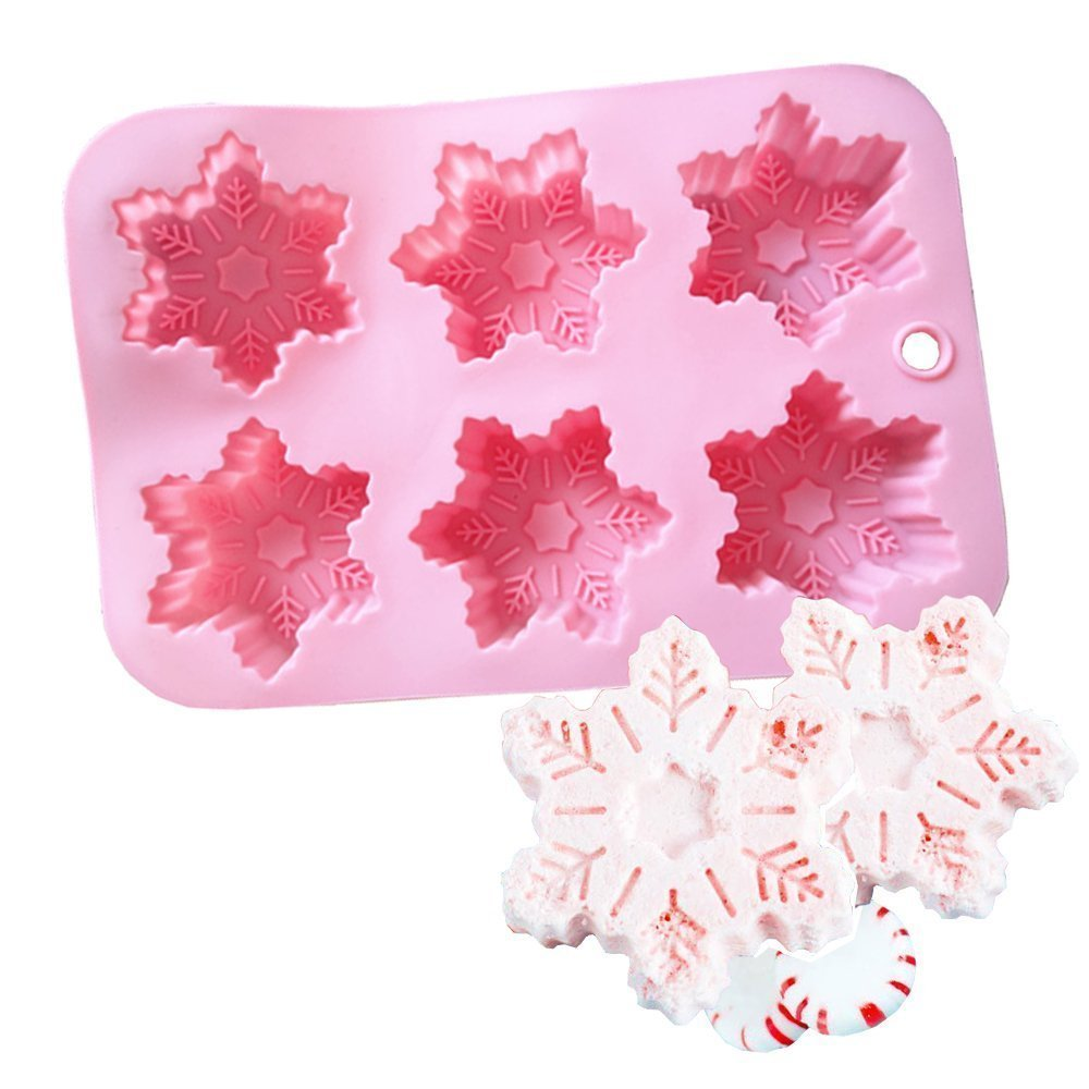 Ialwiyo Pink Silicone Bath Bomb Mold Fizzies Christmas Snow-flake Mold 6 Cavity (#1) COME SALE