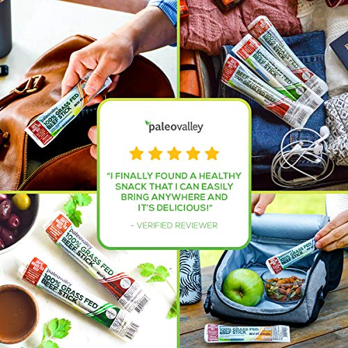 Paleovalley: 100% Grass Fed Beef Sticks (10 Count) - Original Flavor - 100% Grass-Fed/Finished Beef - Paleo-Friendly - NON GMO - Gluten and Soy Free