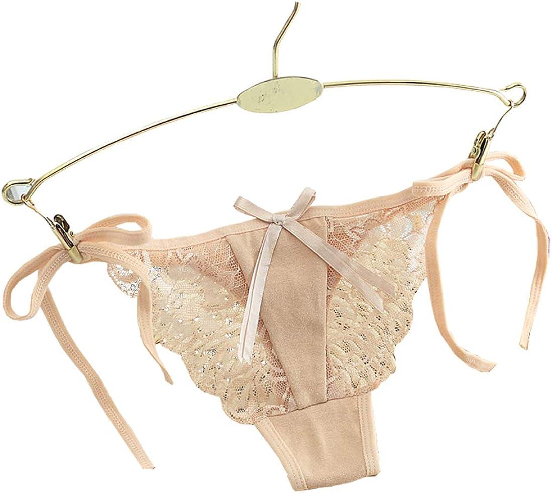 Zainafacai Womens Lace G-String Panties Adjustable G-Strings Side Tie Bow-Tie Thongs Briefs Underwear