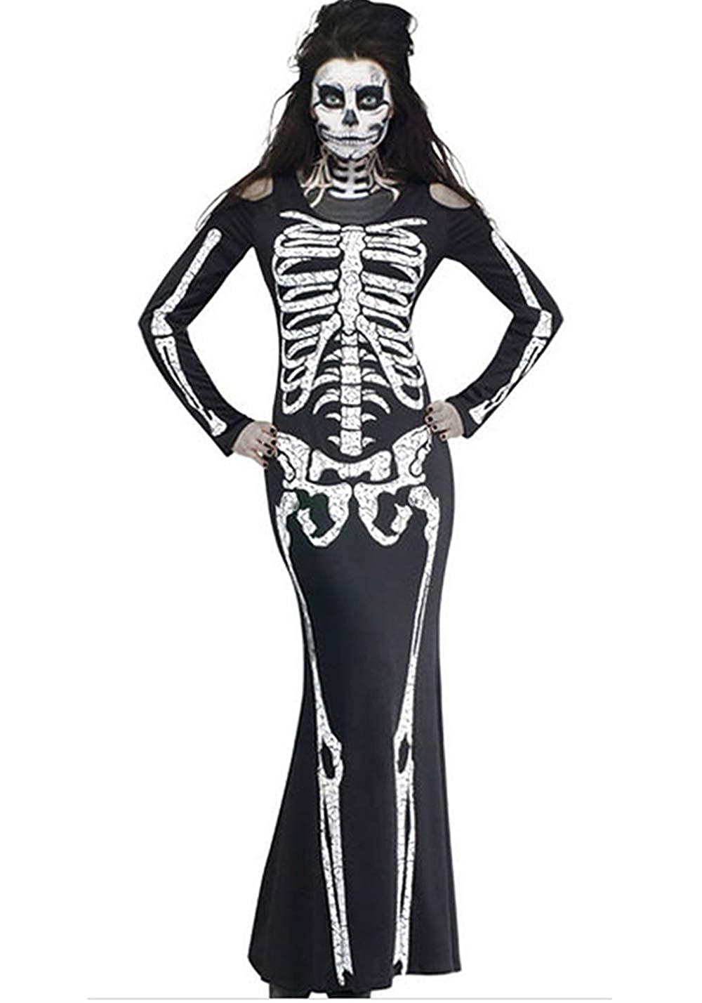 Youthwell Women's Long Skeleton Dress Adult Halloween Costume HLW0041