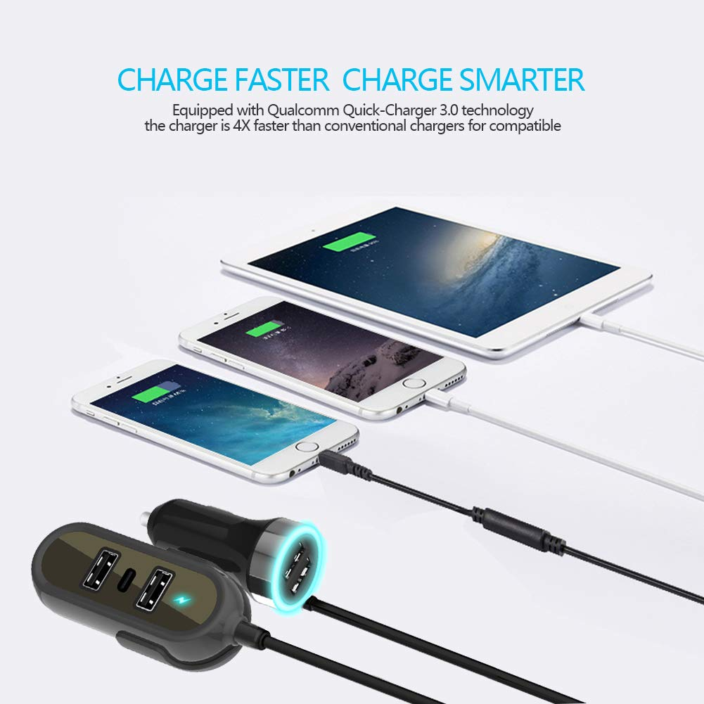 Black 4344315122 Multi-Port Car Charger Tablets Other USB Devices Compatible Mobile Phones Cdyiswu 60W 12A Quick Charger 3.0 5-Port USB Smart Car Charger Adapter for Backseat Charging