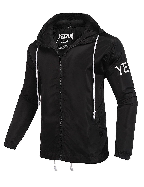 Hoosen Men's Outdoor Windproof Hoodie Zip-up Lightweight Windbreaker Rain Jacket
