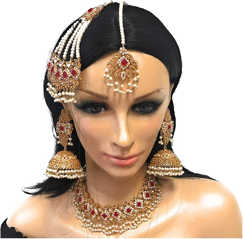 Duel On Jewel Ethnic Indian Pakistani Gold Plated Choker Necklace Big Jhumka Chandelier Earring Tika Jhoomar in Zircon Pearl Eid Gift