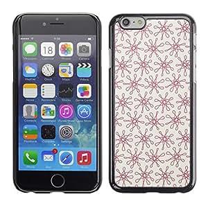 X-ray Impreso colorido protector duro espalda Funda piel de Shell para Apple iPhone 6 Plus(5.5 inches)- Floral Red Pattern Vintage Wallpaper Pattern