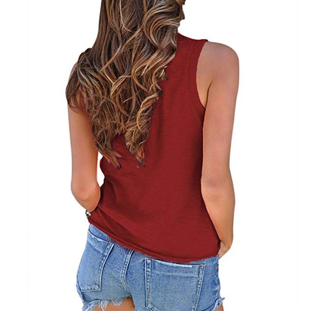 AOJIAN Womens T Shirt Short Sleeveless Twist Knot Solid Blouse Tunic Vest Tank Tops