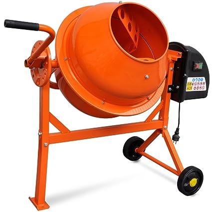 Festnight Hormigonera Eléctrica de Acero 63 Litros 220 V Color Naranja 110 x 55 x 93