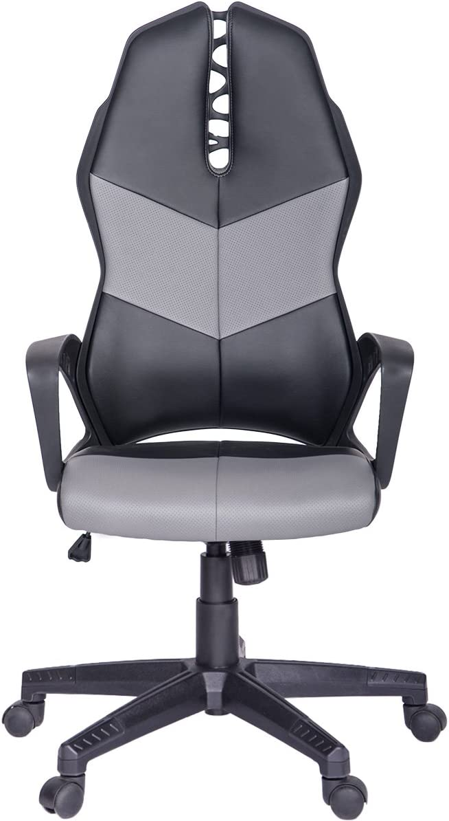 ModernLuxe Terra Series Racing Style Gaming Chair Soft PU Leather and Mesh Fabric Task Chair Grey