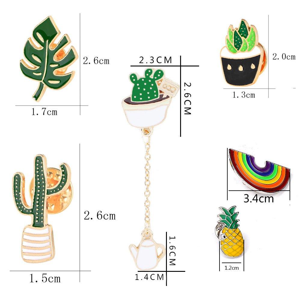 Rainbow Cactus Succulent Leaves Pineapple /… Enamel Lapel Pin Set 6pcs Cartoon Brooch Pin Badges for Clothes Bags Backpacks