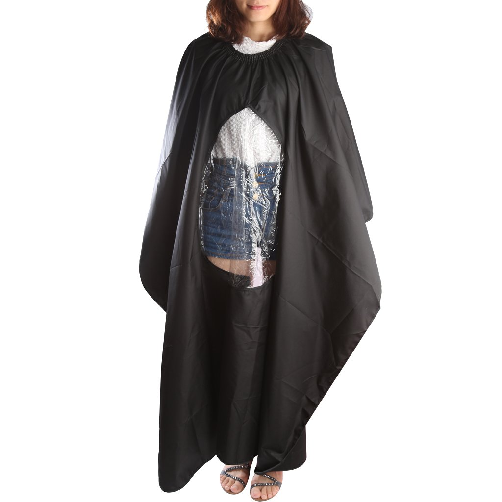 Salon Hairdressing Apron Wrap Black Hair Cutting Cape Barber Gown with Phone Viewing Window Generic
