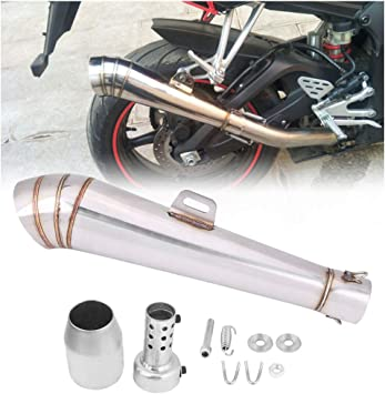 New Universal Motorcycle Motocross Exhaust Muffler Pipe Tip Stainless Steel Blue