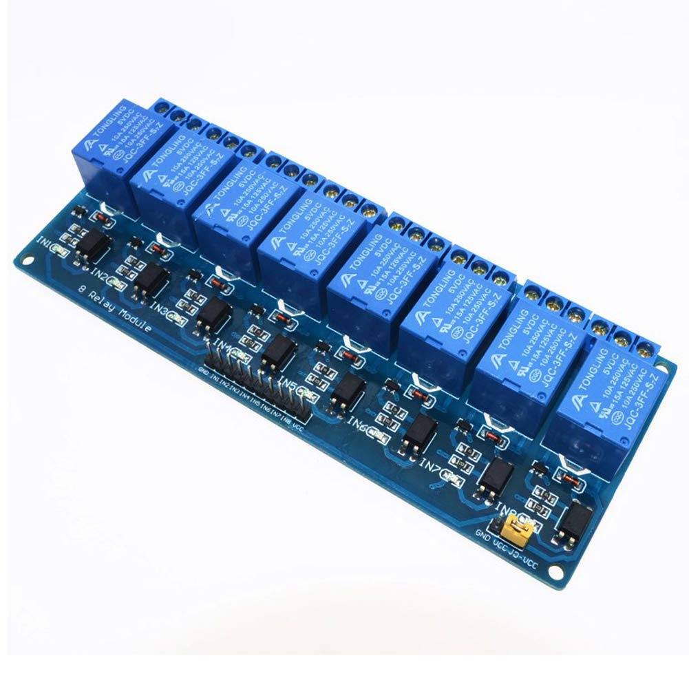 Electrely Módulo Relé de 8 Canales con Optoacoplador (DC 5V), 8 Channel Relay Module para Arduino UNO R3 Kit MEGA 2560 Proyecto 1280 DSP ARM PIC AVR STM32 Raspberry Pi