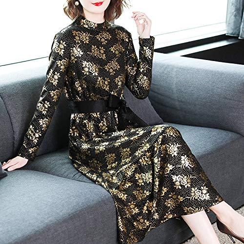 Bingqz Noir Nouvel Longue Avec 2019 Robe Jupe S Florale Féminin Tricotée Chinois À Section Talon An TAqHWrTw