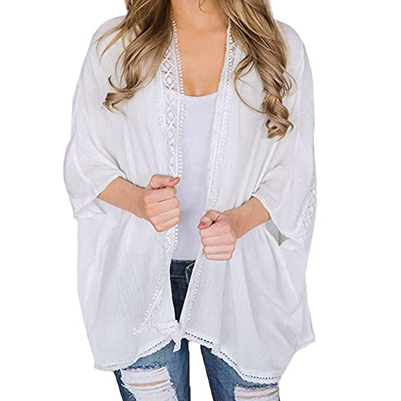 JiaMeng Oto?o Invierno Mujer Casual Blusa de Chaqueta de Kimono con Capucha y Blusa