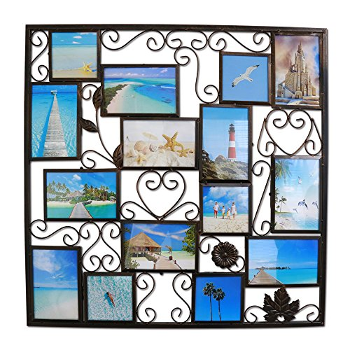(Abbie Home 15-Opening Bronze Antique Hollow Wall Gallery Photo Collage Frame Vintage Wall Décor for Family)