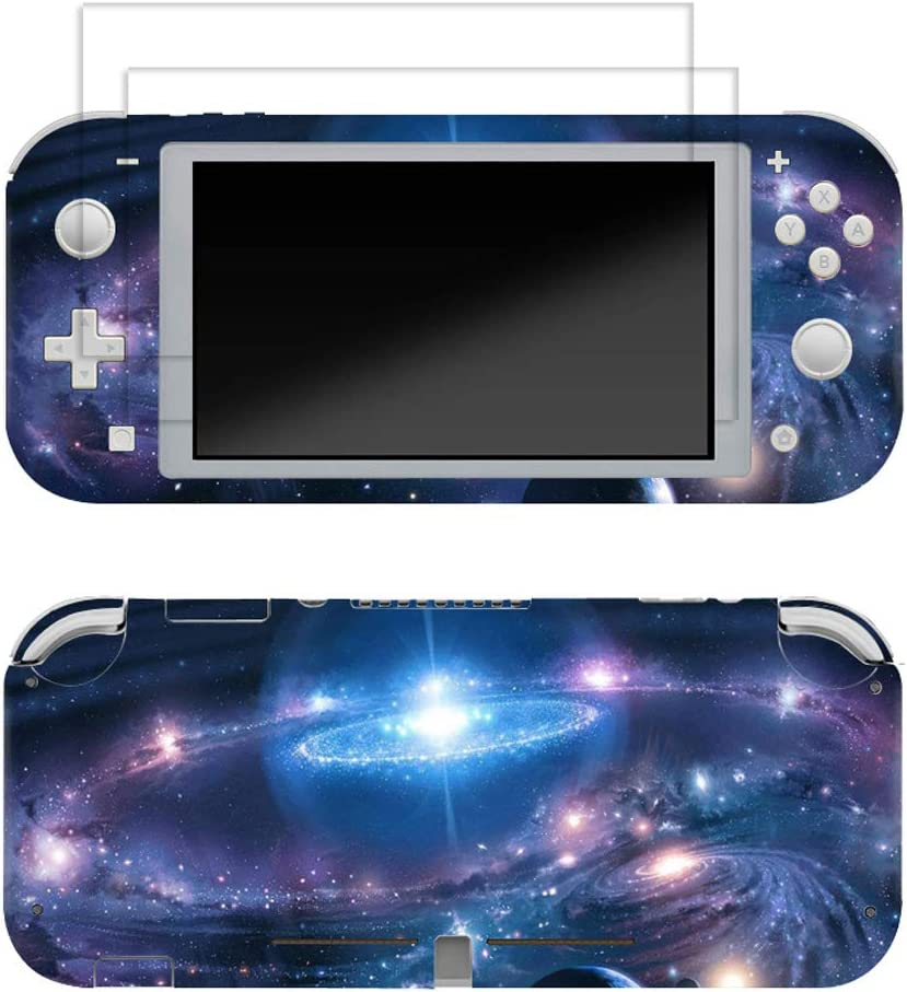 Skin for Switch Lite 3M Vinyl Full Cover Sticker Decal,2 PCS Tempered Glass Screen Protector for Switch Lite(Galaxy)