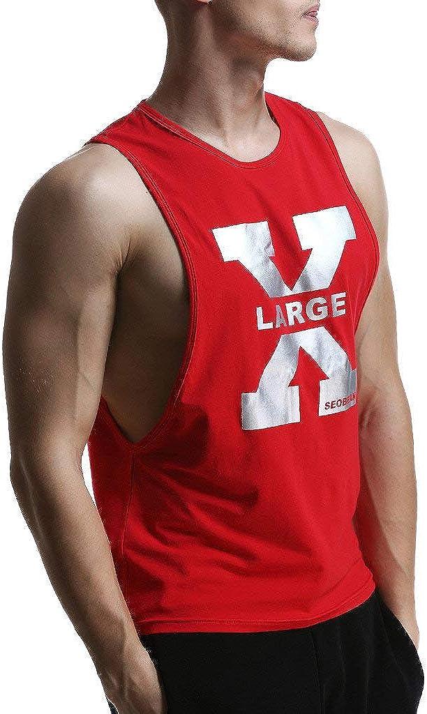 BaZhaHei Permeabile allAria Canotta Uomo Bodybuilding Stampa Tank Senza Maniche T-Shirt Muscolo Maglietta Primavera Estate Casuale Fitness Top Camicia da Uomo Elegante-Gilet Sportivi