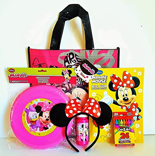 Minnie Mouse Gift Set with Reusable Minnie Mouse Tote Bag, Minnie Mouse Ears, Minnie Mouse Frisbee & MORE!!
