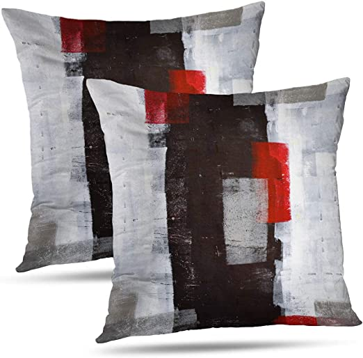 Amazon.com: Alricc Red and Grey Abstract Art Pillow Cover, Modern