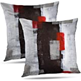 Alricc Pillow Cases Decorative Bedroom, Cotton, Red and Grey Art, 18X18 Set of 2