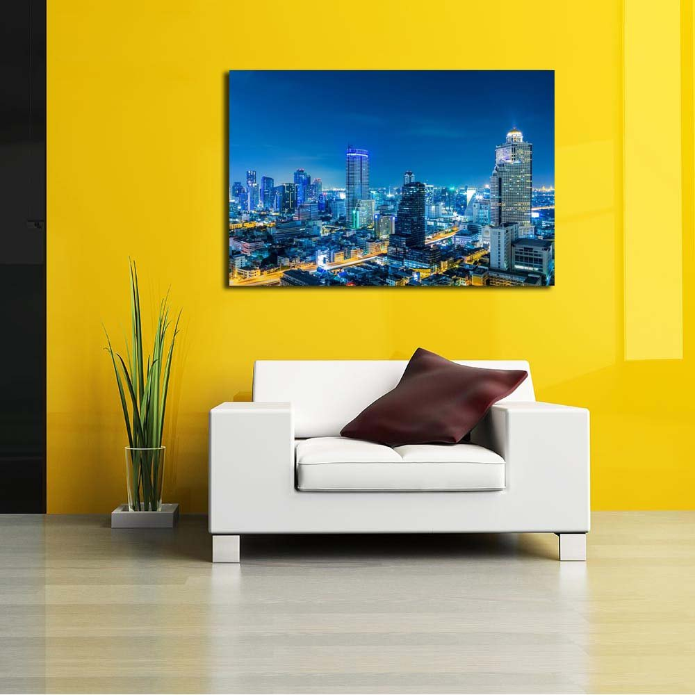 Pitaara Box Landscape Bangkok City Thailand Unframed Canvas Painting 24.1 X 16Inch