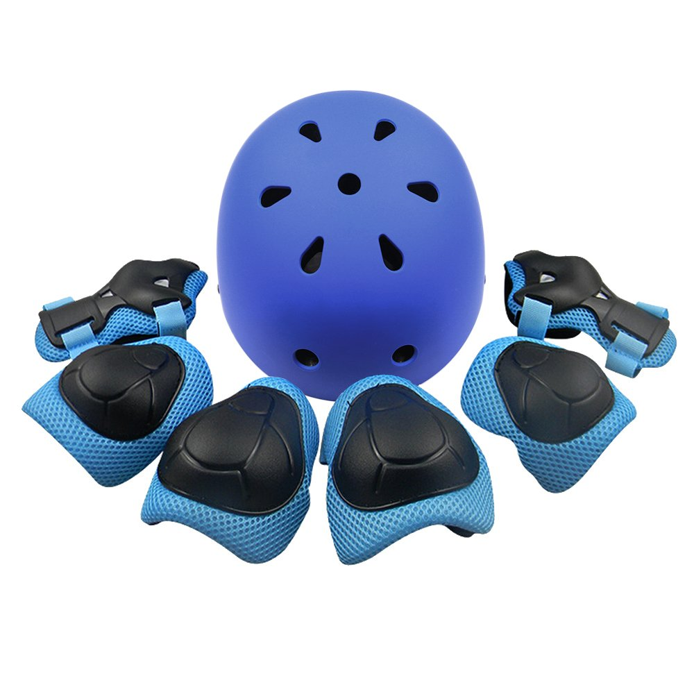 Kid's Protective Gear Set,Child Helmet Knee Pads Elbow Pads Wrist Guards for Skateboard/Skate/Roller/Skateboard (Blue) by KUYOU