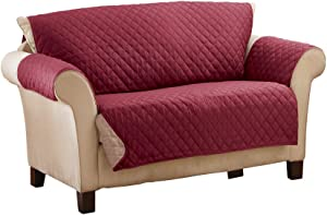 Collections Etc Reversible Quilted Furniture Protector Cover, Burgundy/Taupe, Loveseat