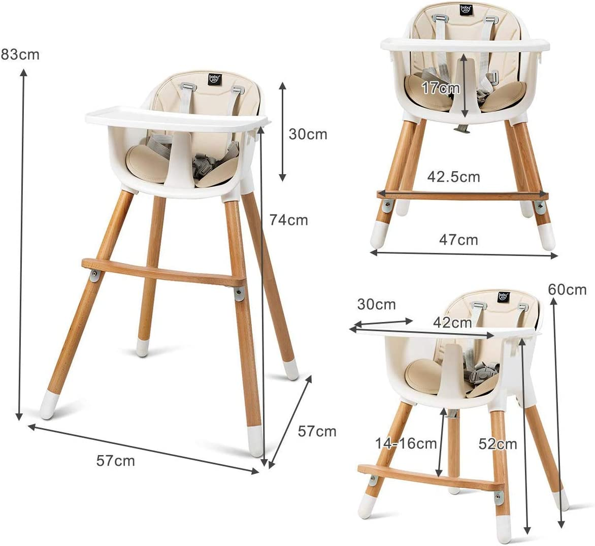 GYMAX Baby Dining Feeding Highchair with Adjustable Legs and 5-Point Seat Harness Multi-Functional Stand-Alone High Chair for Infants Kids Toddlers