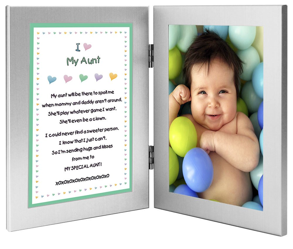 Gift for Aunt - Sweet Poem from Niece or Nephew in Double Frame - Add 4x6 Inch Photo Poetry Gifts poetrygifts-70-085