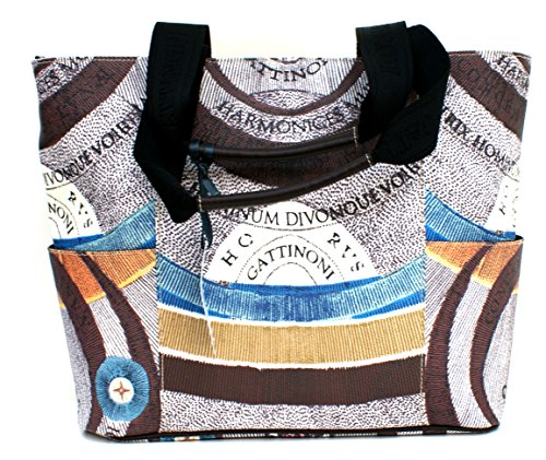 Gattinoni Borsa Donna Shopper Leather Zip Cm 34x30x14 Marrone / Multicolor